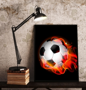 Plakat na ścianę - FIRE FOOTBALL