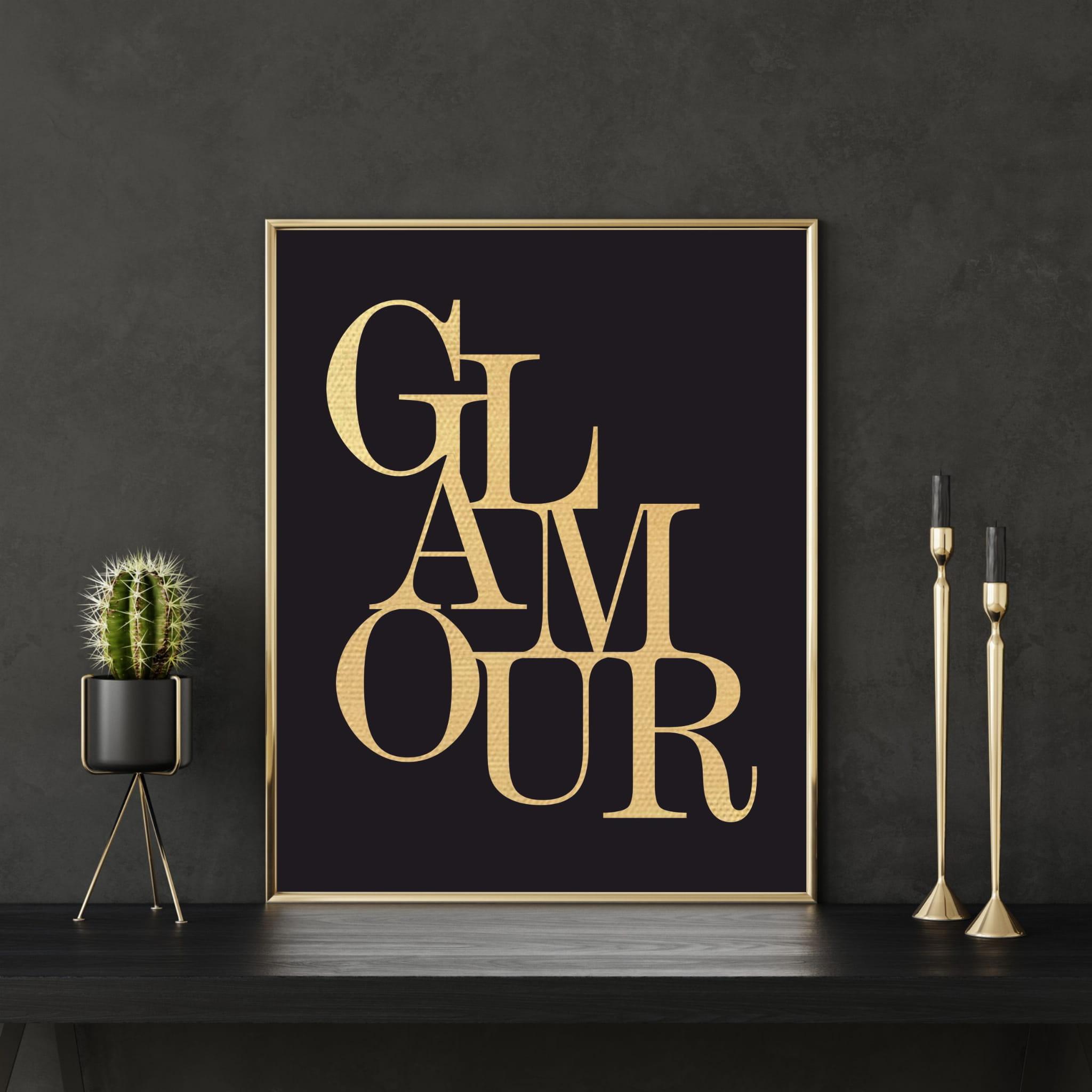 A2 Plakat Na ścianę W Złotej Ramie Glamour